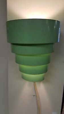 Mid Century Modern 5 Tier Jadite Green Venetian Wall Sconce Light, Lamp