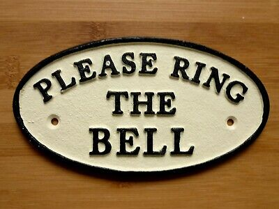 Please Ring The Bell Wall Sign Cast Iron Front Door Plaque Wall Easy Fix 17cm