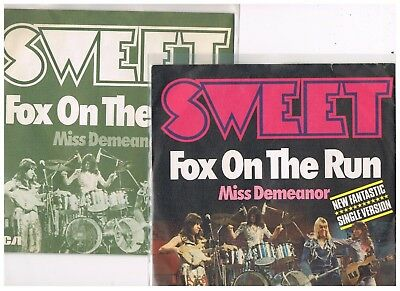 """2 x 7"""" - SWEET -  FOX ON THE RUN - two different german PS"""