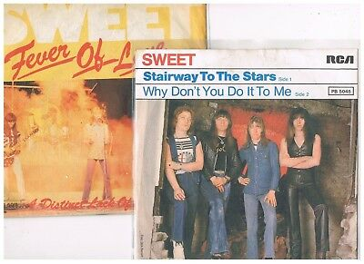 """2 x 7"""" - SWEET - STAIRWAY TO THE STARS / FEVER OF LOVE - german PS"""