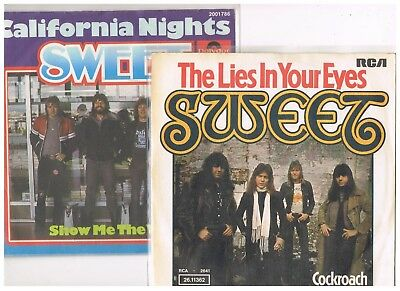 """2 x 7"""" - SWEET - THE LIES IN YOUR EYES / CALIFORNIA NIGHTS - german PS"""