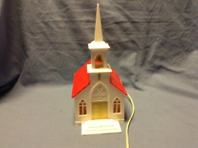 Vintage Plastic Light Up Church With Bell In Steeple  Works Red Roof CHRISTMAS