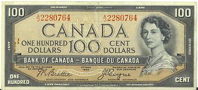 Bank of Canada 1954 $100 Hundred Dollars Devil's Face Beattie- Coyne VF