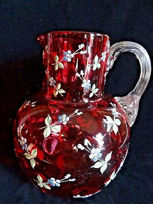 Victorian Era Cranberry Thumbprint Pitcher With Forget Me Knot Enamelling