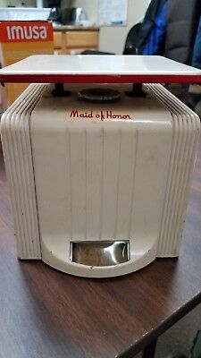 Vintage Maid Of Honor 24 Pound Kitchen Scale 1940's-1950's White /Red Trim Works