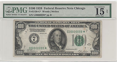 1928 $100 Chicago Federal Reserve *star Note* Serial Number G00000098*