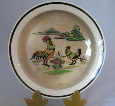 Vintage Moriyama Made in Japan Child's Bowl Dish Hand Painted Scene w/ Roosters