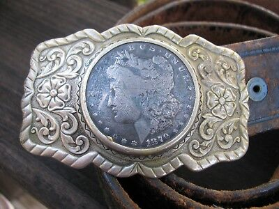 Vintage 1879 Morgan Silver Dollar Western Leather Belt with Ornate Buckle