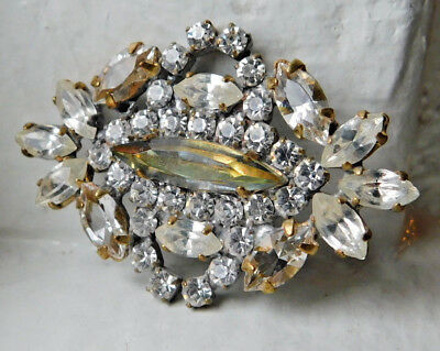Vintage Czech glass rhinestone button~Jonquil~clear crystals