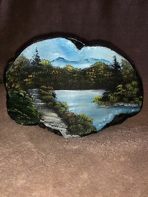 Beautiful Picture Painted On Piece Of Wood Ooak Collectible Rare Unique