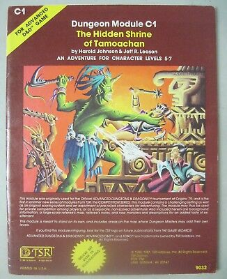 Tsr Add Advanced Dungeons & Dragons 9032 C1 The Hidden Shrine Of Tamoachan 1981