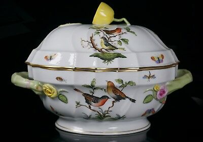 Herend Rothschild Bird Oval Soup / Vegetable Tureen Covered Bowl - PERFECT