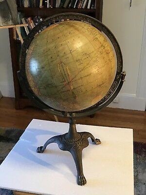 "Rare Vintage Weber Costello 12"" Globe In Cast Iron Paw Foot Stand"