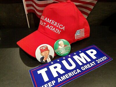 Trump Make America Great Again American Flag Hat Plus Keep America Great Button