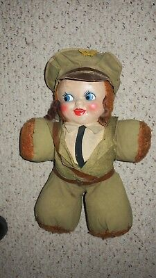 """Vintage 1940's Gund HONEY LOU  20""""  Cloth doll in WWII military Uniform with Cap"""