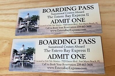 Estero Bay Express Dolphin Sunset Boat Tour Boarding Pass Fort Myers Florida