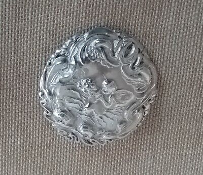 Sterling Silver Button with Woman and Putti