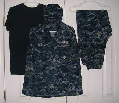 US Navy Working Uniform NWU Digital Blue Camo BDU Medium Regular w/ Hat T-Shirt