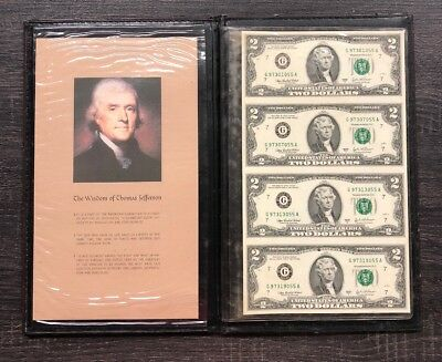 Partial Uncut Sheet Of (4) 2003-A $2 FRN Notes In Display