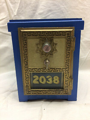 Post Office Mail Box Door P.O. Vintage USPS Postal Coin Wood Bank Lock Blue 2038