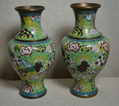 """PAIR 1920's 7 3/4"""" CHINESE CLOISONNÉ BRASS WIRE / ENAMEL VASES SIGNED"""