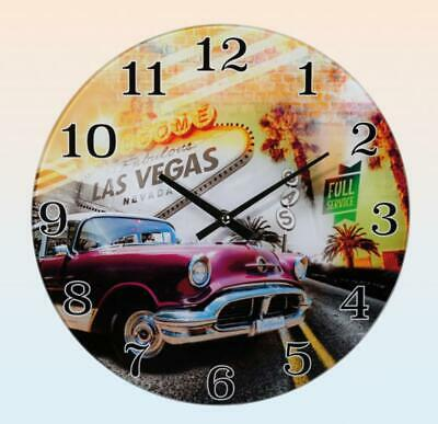 Wall Clock Glass Welcome to Las Vegas Classic Car Red, Wall Clock 30 Cm