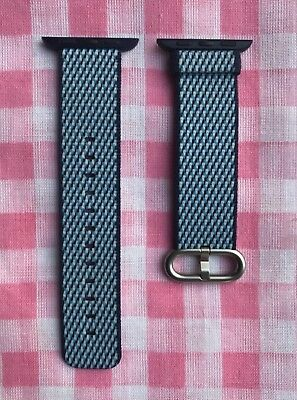 Midnight Blue Check 38mm Apple Watch Woven Nylon Band Genuine/Authentic/OEM NEW