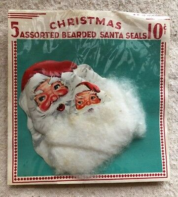 Antique Vintage Bearded Santa Christmas Seals Unopened Pkg. of 5 NOS lot