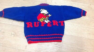 Vintage Hand knitted child's Rupert Bear cardigan blue red 12-18 months