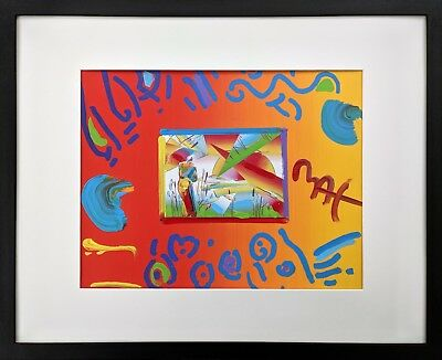 Peter Max SAGE WITH UMBRELLA Framed Original Mixed Media Painting on Paper