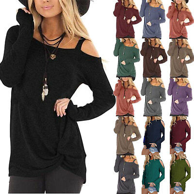 Womens Off Shoulder Long Sleeve T Shirt Blouse Tunic Top Shirts Sweater Fashion