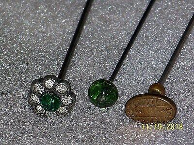 Vintage Antique Lot Of Victorian Glass-Rhinestone And Metal Hat Pins