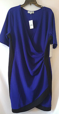 NWT Almost Famous Juniors Plus Size 3X Faux Wrap Dress Blue Black Color  Block 131eecfef