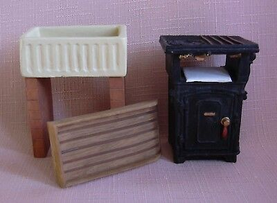 RESIN  SCULLERY/KITCHEN SINK & DRAINER +  RESIN GAS COOKER 12th scale