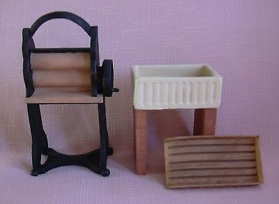 RESIN VICTORIAN MANGLE + RESIN  SCULLERY/KITCHEN SINK & DRAINER   12th scale