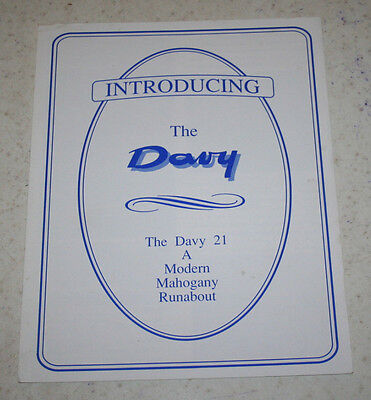 Vintage The Davy 21 A Modern Mahongany Runabout Brochure Downunder Boat Works