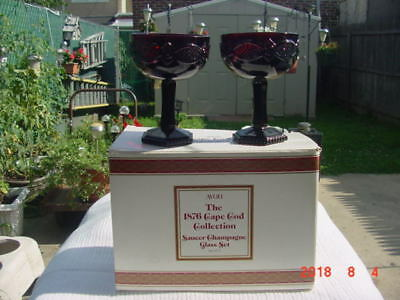 AVON- RED Cape Cod Collection RUBY RED - CHAMPAGNE GLASS-  2 - Brand New in Box
