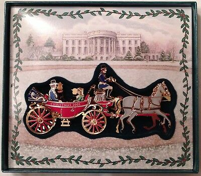 2001 White House Historical Assoc A. Johnson Presidential Carriage Ornament - 2001 WHITE HOUSE Historical Association Christmas Ornament Carriage