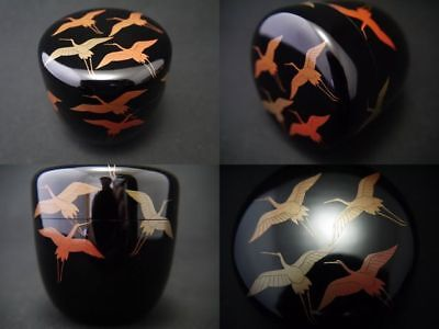 Japanese Lacquer Wooden Tea caddy A THOUSAND CRANE image makie Chu-Natsume 1205