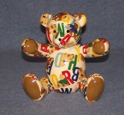 Porcelain Teddy Bear Alphabet Patchwork  Piggy Bank