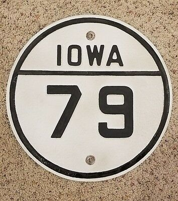 Vintage Authentic Iowa State Route 79 Steel Highway Road Shield Sign Used Real