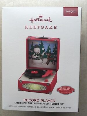 Rudolph the Red Nosed Reindeer Record Player 2018 Hallmark Xmas tree Ornament NB