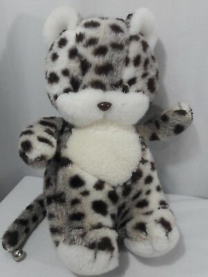 "Vintage Sanrio Plush Snow Leopard Stuffed Animal RARE Bell on Tail 11"" *FLAW*"