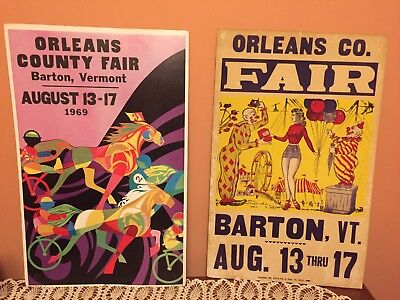 "Orleans County Fair Poster 22 x 14"", Barton VT, 1969, Vintage, Good Condition"
