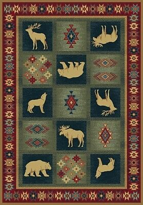 "deer BEAR wolf LODGE 2x8 runner GREEN burgundy AREA rug : Actual 1' 11"" x 7' 4"""