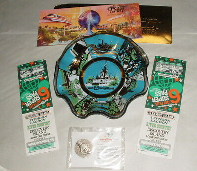 1970s & 80s DISNEY WORLD TICKETS w EPCOT AND MONORAIL SET w 2000 CASTMEMBER PIN
