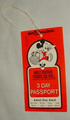 1980 Walt Disney World Adult Passport Ticket Good For 1 Day To All Parks