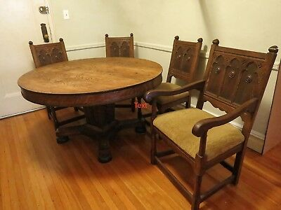 Vintage Dinning Set Solid Wood Table and Chairs