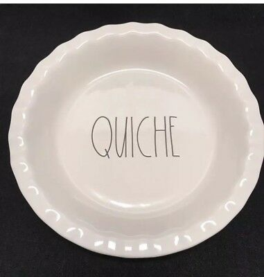 """Rae Dunn """"QUICHE"""" Pie Dish Plate 10"""" Large Letter Thanksgiving Day"""