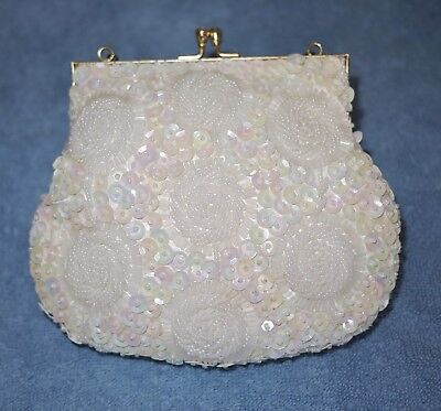 Vintage White - Beaded Evening Clam shell clutch/purse by DU VAL Hong Kong